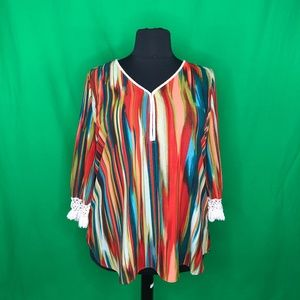 New Directions Woman 2X Multi-Color Boho V Neck